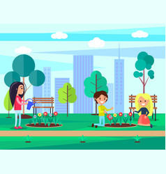 People saving nature in city vector