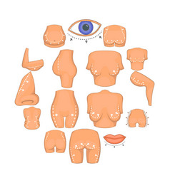 plastic surgeon icons set cartoon style vector image