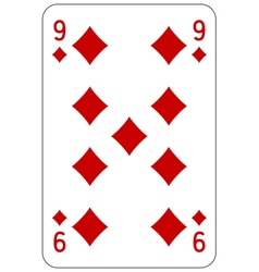 Poker playing card 9 diamond vector image