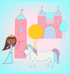 princess and her unicorn outside the castle vector image