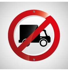 prohibited traffic sign round icon design vector image