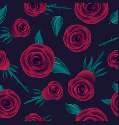 Red roses seamless pattern flowers leaves vector