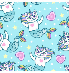 seamless pattern mermaid cartoon cats vector image