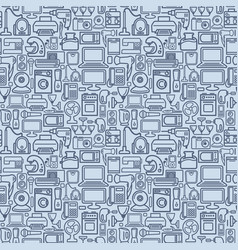 seamless pattern outline home appliances icons vector image