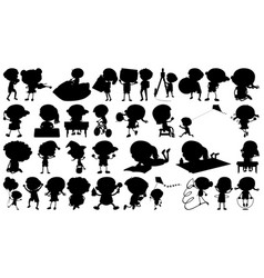set silhouette character vector image