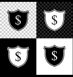 shield and dollar icon isolated on black white vector image