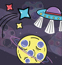 Shooting stars ufos and planet in the galaxy vector