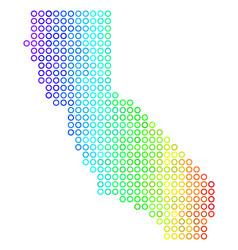 Spectral cirle dot california map vector