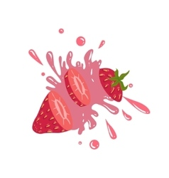 Strawberry Cut In The Air Splashing The Juice vector