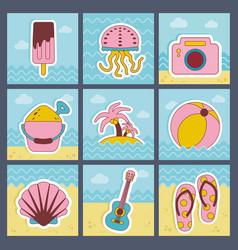 summer flat icons set vector image