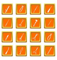 surgeons tools icons set orange vector image
