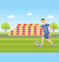 Teenage boy kicking a soccer ball guy doing vector
