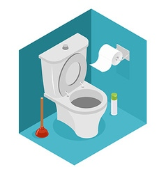 Toilet isometrics white toilet and plunger roll of vector