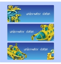 Underwater station cards on a blue background vector image