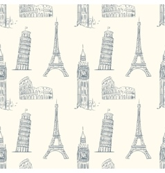 vintage seamless pattern with sights europe vector image