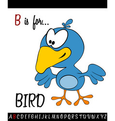 Vocabulary worksheet card with cartoon bird vector