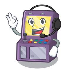 with headphone arcade machine in cartoon shape vector image