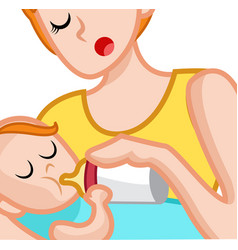 Woman giving bottle to her son in her arms vector