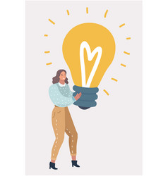 woman with near big bulb light vector image