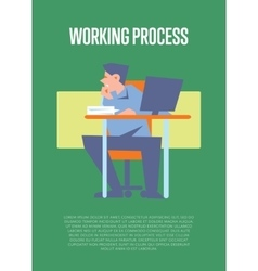 Working process banner with bewildered employee vector