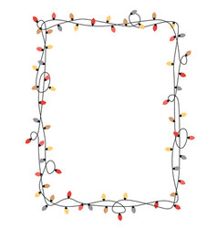 xmas light bulbs frame rectangle shape vector image