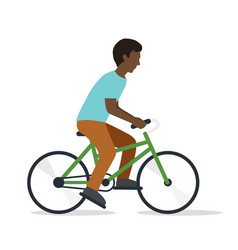 young man on bicycle vector image