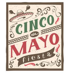 cinco de mayo fiesta lettering text retro flyer vector image