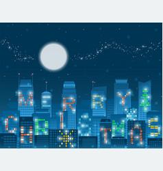 merry christmas alphabet buildings vector image