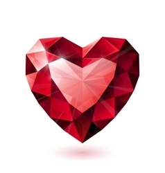 Shiny isolated red ruby heart shape on white vector image