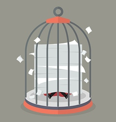 Businessman under a lot of documents in bird cage vector image vector image