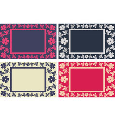 Floral frame in four colors versions vector image vector image