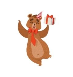Girly Cartoon Brown Bear Character Wearing Party vector image vector image