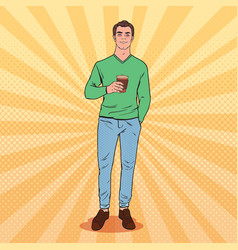 Pop art awaked tired man with morning coffee vector