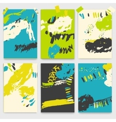 Set of creative universal brush stroke cards vector image vector image