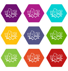 bam comic book bubble icon set color hexahedron vector image