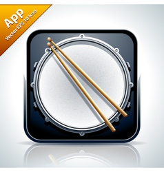 Drum musical app icon vector image vector image
