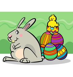 easter bunny and eggs cartoon vector image