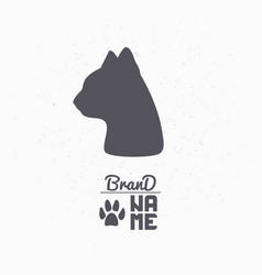 hand drawn silhouette of cat head vector image vector image