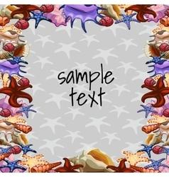 Marine frame ornaments of sea clams vector image