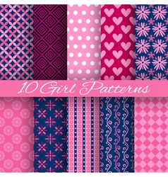 10 Bright girl seamless patterns tiling Pink and vector image vector image