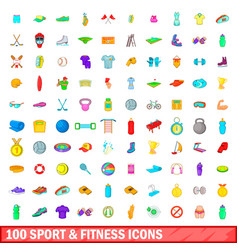 100 sport and fitness icons set cartoon style vector image vector image
