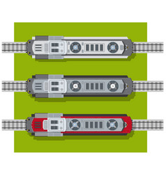 Electric locomotive of railways top view from vector