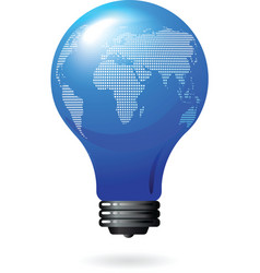 Light bulb with world map vector