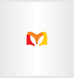 m letter red orange yellow logo vector image vector image
