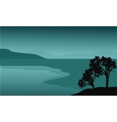 Silhouette of tree in the beach vector image vector image