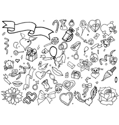 Valentine Day coloring line art design vector image vector image
