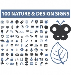 100 nature design signs vector
