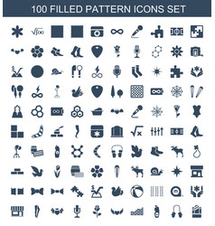 100 pattern icons vector
