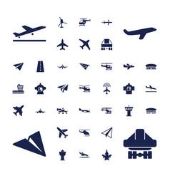 37 aircraft icons vector image