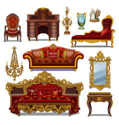 a set of furniture red color for vintage interior vector image